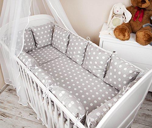 Baby Nestchen Bettumrandung 420 cm Design: Pünktchen grau Bettnestchen Kantenschutz Kopfschutz für Babybett Bettausstattung