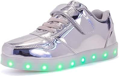 Unisex Bambini LED Scarpe Sportive LED Light-up Scarpe 7 Colori USB Carica Lampeggiante Luminosi Running Sneakers Traspirante Basso Ultraleggero Sport Baskets Shoes per Ragazze e Ragazzi