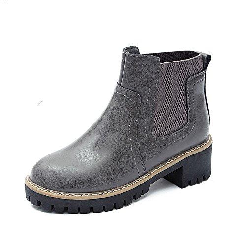 HAIZHEN Damen Mädchen Booties Damenschuhe PU Fashion Stiefel Herbst Winter Stiefel Booties / Stiefeletten mit für Casual Dress schwarz grau klobige Ferse Für 18-40 Jahre alt ( Farbe : Grau , größe : EU36/UK4/CN36 ) (Schuhe Mitte Höhe Socken)