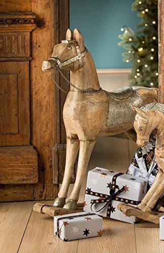 Schaukelpferd Mangoholz / Alu sehr edel 44 cm (G21346) Weihnachtsdeko groß