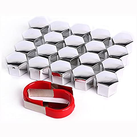 20 Pieces Chrome Silver Car Wheel Bolt Nut Head Cap Covers 17mm Plastic Hexagonal Protectors Hex plus Removal Tool Universal