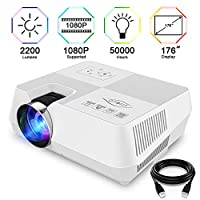 Visoud Projector 2200 Lumens Mini Portable HD Video Projector Supported 1080P and 176�?�Display, Compatible with Amazon Fire TV Stick/ Laptop/ TF/ XBOX/ iPad/ iPhone/ Android for Home Theatre, White
