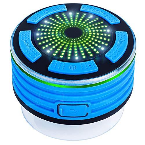 Forrader Bluetooth IPX7 wasserdichte Dusch-Lautsprecher, tragbarer kabelloser 4.0-Musik-Player mit Stereo-Sound, FM und Saugnapf für Pool, Dusche, Boot, Strand, Whirlpool, Party, Outdoor, Innen blau