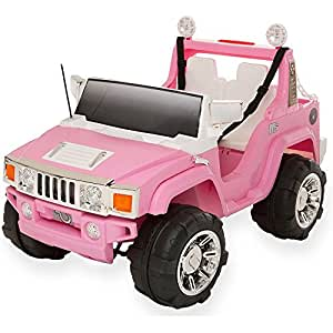 Voiture électrique rose pour fille hummer 2 places avec coffre 12 volts