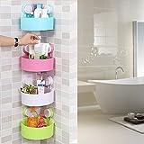 Getko 4 Pcs Triangle Shower Corner Caddy Basket Plastic Inter design Bathroom Kitchen Storage Organize Shelf Rack with Wall Mounted Suction Cup.