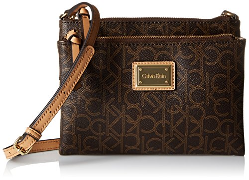 Calvin Klein Logo-Crossbody Bag, Brown/Khaki/Camel, One Size Calvin Klein Khaki
