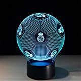 Xh&Yh 3D Real Madrid Football Colorful Remote Control Touch Night Light LED lámpara de mesa , remote