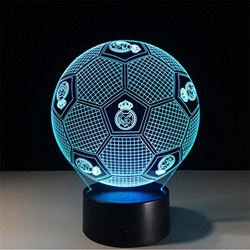 Lh&Fh 3D Real Madrid Fußball Bunte Fernbedienung Touch Nachtlicht LED Tischleuchte, remote