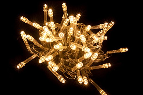 LED Lichterkette 10 Meter 8 Modi 100 LEDs verlängerbar Festbeleuchtung innen aussen Fensterdekoration 7 Watt warmweiß