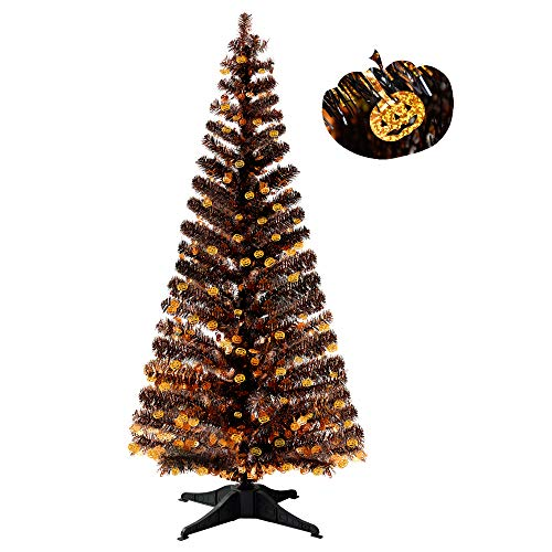 YuQi Künstliche Bäume, 152 cm, zusammenklappbar, mit Ständer, Abstand > 50%, wiederverwendbar, für Halloween, Partys, nächstes Neujahr, Hochzeit, Saisonale Dekoration und Party (Pumpkin) (Halloween Baum Dekoration Verkauf)