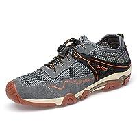 Hiking Walking Shoes Men Athletic Sneaker For Elastic Cord Mesh Fabric Outdoor Sports Hiking Mountain Climbing Shoes (Color : Gray, Size : 39 EU)