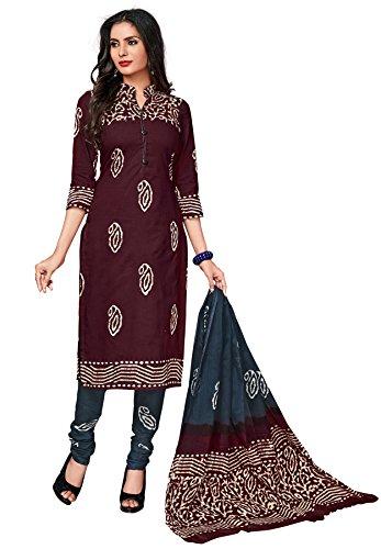 Muhenera Women's Dark Brown & Grey Cotton Battik Printed Dress Material with...