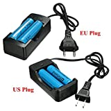 #7: 2x Elfeland 3.7V 3000mAh 18650 Li-ion Battery + EU/US Plug Charger