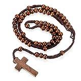 Flongo Holz-Kette Halskette Anhänger, Holz Rosenkranz Kette Kreuz Kruzifix Jesus Braun Holz Kugel Perle Perlen Damenkette Herrenkette für Männer, Frauen Accessoires