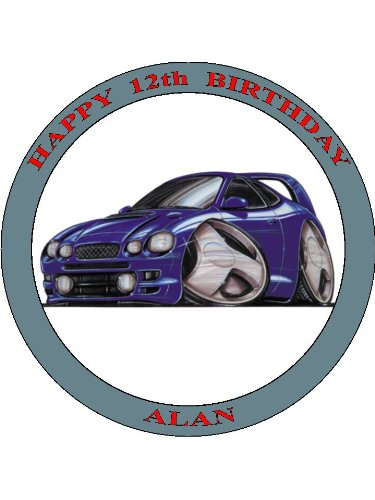 022-toyota-celica-blue-koolart-0022-personalised-75-circle-icing-cake-topper-any-name-age-or-message