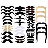 SIMUER 48Pack Fausses Moustaches Auto-Adhésif Fake Moustache de Nouveauté Fiesta...