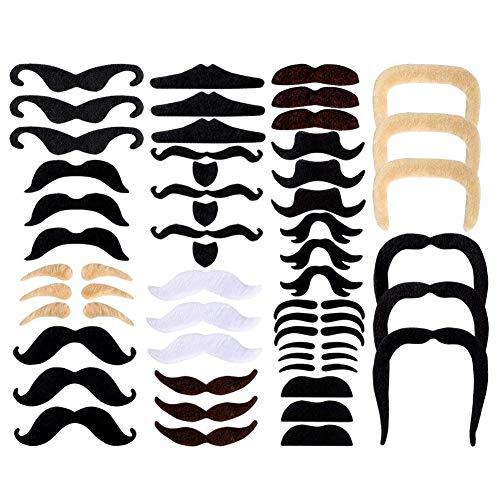 48 Stücke Gefälschte Schnurrbärte Selbstklebende Schnurrbart Klebebärte aufklebbarer falscher Bärte schickes Kostüm für Kinder und Erwachsene (Bärte Und Schnurrbärte Kostüm)
