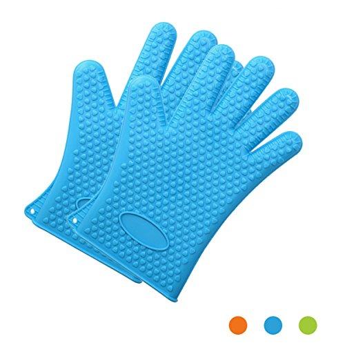 HAPPYX Hitzebeständige Silikon Backofen & Grill-Handschuhe Universalgröße Anti-Rutsch für BBQ Kochen Backen / Essen Prep / Haus Reinigung / Küche /Spülmaschinenfest