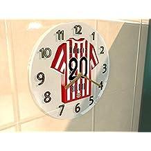 Santander La Liga de Fútbol 2017 - Reloj de pared de acrílico en forma de Camiseta. Cualquier equipo, cualquier nombre, cualquier número (Athletic Club Bilbao)