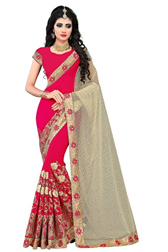 Sarees (for Women Party Wear offer Designer Sarees New Collection Today Low Price Sarees Below 500 in Multi-coloured Jacquard Cottoni Material Latest Saree With Designer Blouse Free Size Beautiful Bollywood Sarees With Blouse) (Pink & Cream)