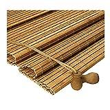 ZEMIN Bambus Rollo Bambusrollo Innen/Außen Installieren Schutz Isolierung Vorhang Anpassbar Handheben, 3 Farben, 22 Größen