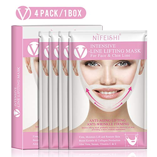 NIFEISHI V Line Lifting Mask (4 Pack) Chin Up Patch V Shape...