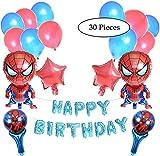 Spiderman Birthday Party Decorazione 30Pezzi. 30Pcs Spiderman Tema Decorazione 2Palloncini, 40,6cm Compleanno Palloncino Palloncini Lettere di Spiderman, Portatile, Stella e Palloncini in Lattice