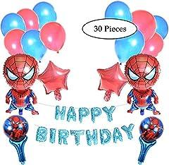 Idea Regalo - Spiderman Birthday Party Decorazione 30Pezzi. 30Pcs Spiderman Tema Decorazione 2Palloncini, 40,6cm Compleanno Palloncino Palloncini Lettere di Spiderman, Portatile, Stella e Palloncini in Lattice