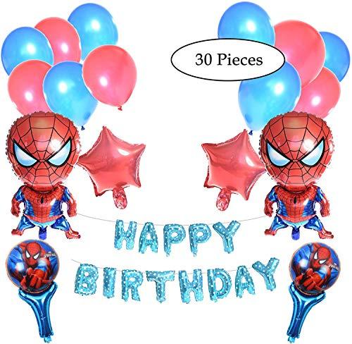 Spiderman Geburtstagsparty-Dekoration, 30 Stück Spiderman-Motiv-Dekoration, 2 Spiderman-Luftballons, 40,6 cm, Geburtstagsballons, Spiderman-Handballons, Stern und Latex-Luftballons, 30 Stück