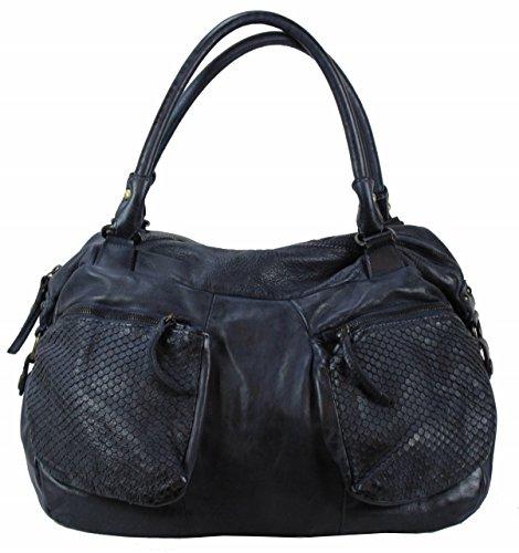 BOZANA Bag Salt blue Italy Designer Damen Handtasche Schultertasche Tasche Leder Shopper Neu