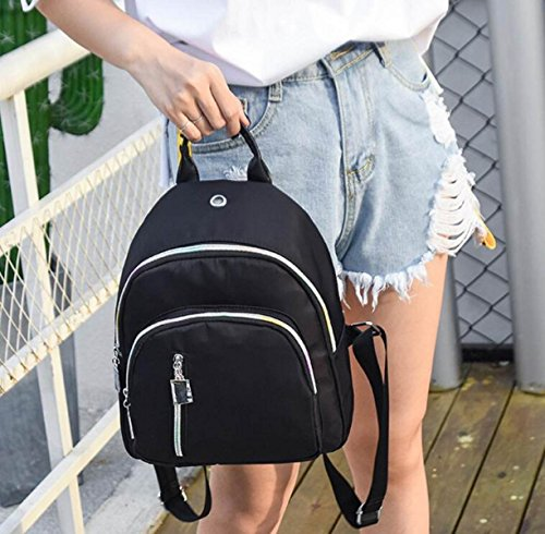 Mädchen Wasserdichte Nylon Rucksack Mode Mini Kleine Rucksack Casual Handtaschen Daypack Schultasche Black