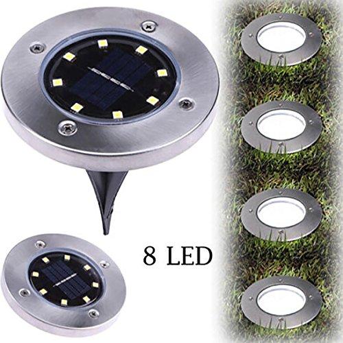 LED-Solar-Bodenleuchte, Routinfly begraben Licht 8LED Outdoor-Lampe Garden Path Way Decking (Warmweiß)