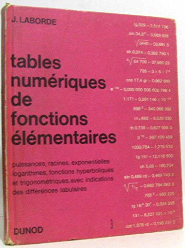 Tables numériques de fonctions élémentaires