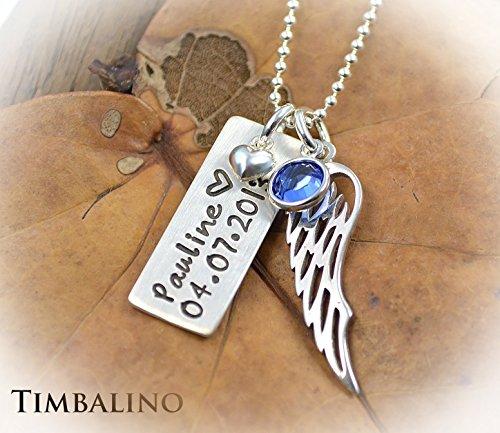 Namenskette Taufschmuck mit Geburtssteinen und Engelflügel