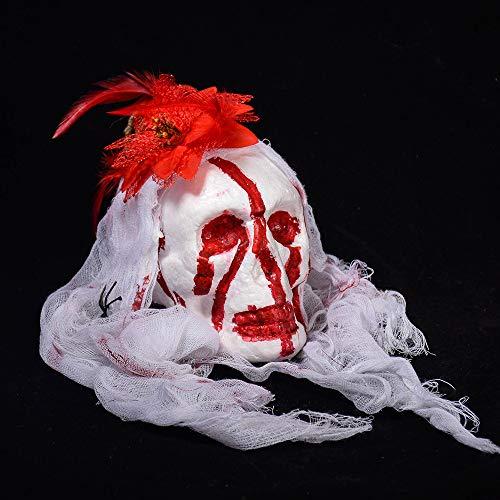 WeieW Stilvolles Zubehör für zu Hause Halloween hängenden Scary Skull Ghost Kopf Spukhaus Dekor Prop Bleeding Kopf Party Ornament (Farbe : ()