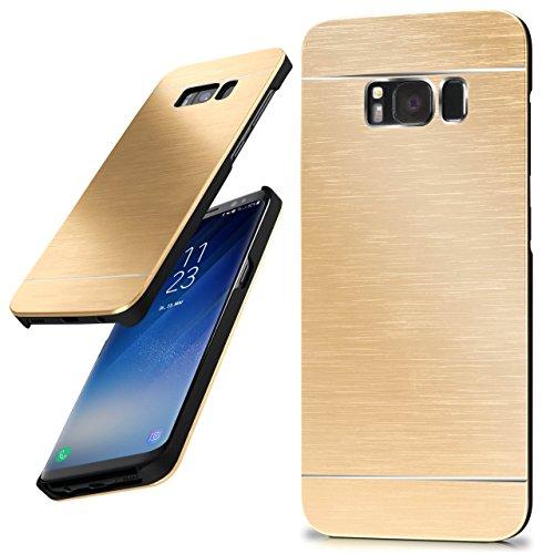 moex Samsung Galaxy S8 Plus | Hülle Dünn Gold Aluminium Back-Cover Schutz Handytasche Ultra-Slim Handy-Hülle für Samsung Galaxy S8+ Plus Case Metall Schutzhülle Alu Hard-Case Aluminium Hard Case
