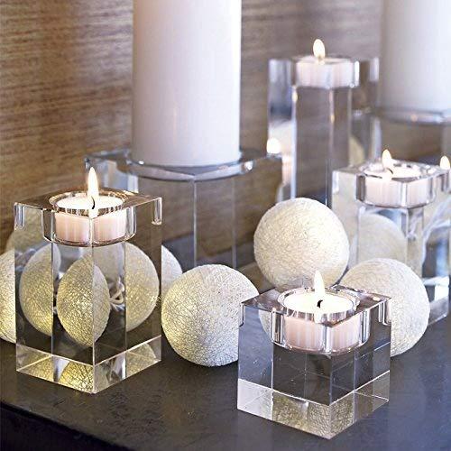 DecentGadget® K9 Crystals Votive Tealight Candle Holder for Party Ceremony Wedding Centerpiece Home Decoration With Candle//Kerzenhalter Teelichthalter Kerzenständer Windlichthalter (40+60+80MM)