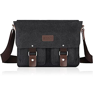 SMRITI 14-Inch Canvas Messenger Bag Laptop Satchel for School (Grey)