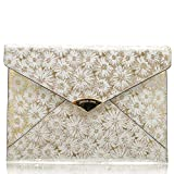 Michael Kors Barbara 30S8MB8C4K Damen Handtasche Clutch Umhängetasche Schultertasche Crossbody (Optic White/Gold)