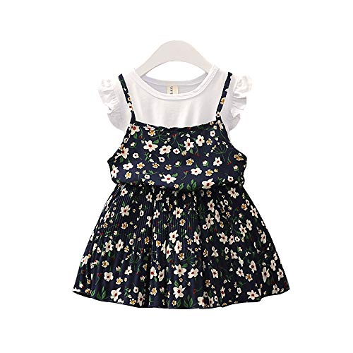 YICANG Baby Blumendruck Kleider Prinzessin Kleid für 2019 Sommer gefälschte Zweiteilige Kleid Outfits Partykleider