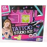 GL Style Glitter Sparkle Temporary Tattoo Studio Kit 6 Stencils Body Art Set
