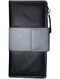 Style98 Black And Grey Genuine Leather Clutch||Wallet||Handbag With 8 Card Slots For Women And Girls
