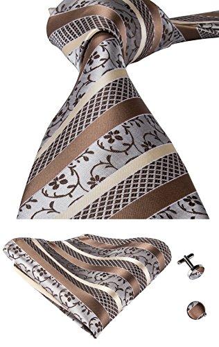 Juego de corbata y pañuelo de seda tejida con motivos florales para hombre, de Hi-Tie Marrón marrón talla única