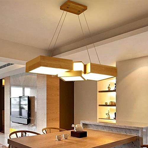 Henley Holz Pendelleuchte Esszimmer Lampe LED 36W, Design Pendellampe mit Acryl Lampenschirme Hängelampe Höhenverstellbare Hängeleuchte für Wohnzimmer Küche, Warmes Licht 3000K