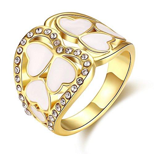 Thumby Romantischer Herzförmiger Diamant-Ring Eingelegt Tschechische für Frau,18K Gold überzogen,7