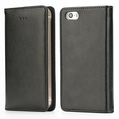 Handy 5 Hülle, Handyhülle iPhone SE Lederhülle Schutzhülle Tasche Leder Flip Case Wallet Stylish mit Standfunktion Brieftasche Etui für Apple iPhone SE / 5 / 5S - Schwarz / E
