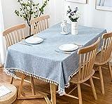 xsongue tischdecke Tischtuch Rechteckige Reine Farbe Hellblaue Wasserdichte Baumwoll-Hemme Hanf Home Stoff Desktop Dekoration Küche Picknick-partytisch Beauty 90 * 90cm
