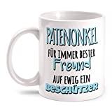 Fashionalarm Tasse Patenonkel - Für immer bester Freund - Auf ewig ein Beschützer beidseitig bedruckt mit Spruch | Geschenk Idee Geburtstag Taufe, Farbe:weiß