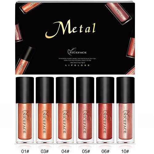 Rechoo Beauty 6PCS / set taza antiadherente brillo de labios a prueba de agua Brillo de metal lápiz labial líquido brillo de labios de larga duración Shimmer lápiz labial conjunto de colores 1