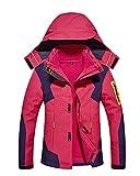 Qitun Herren Damen 3 in 1 Outdoor Funktionsjacke Skifahren Bergsteigen Trekkingjacke warm Kapuzenjacke Abnehmbarer Kapuze Rose Damen XXL